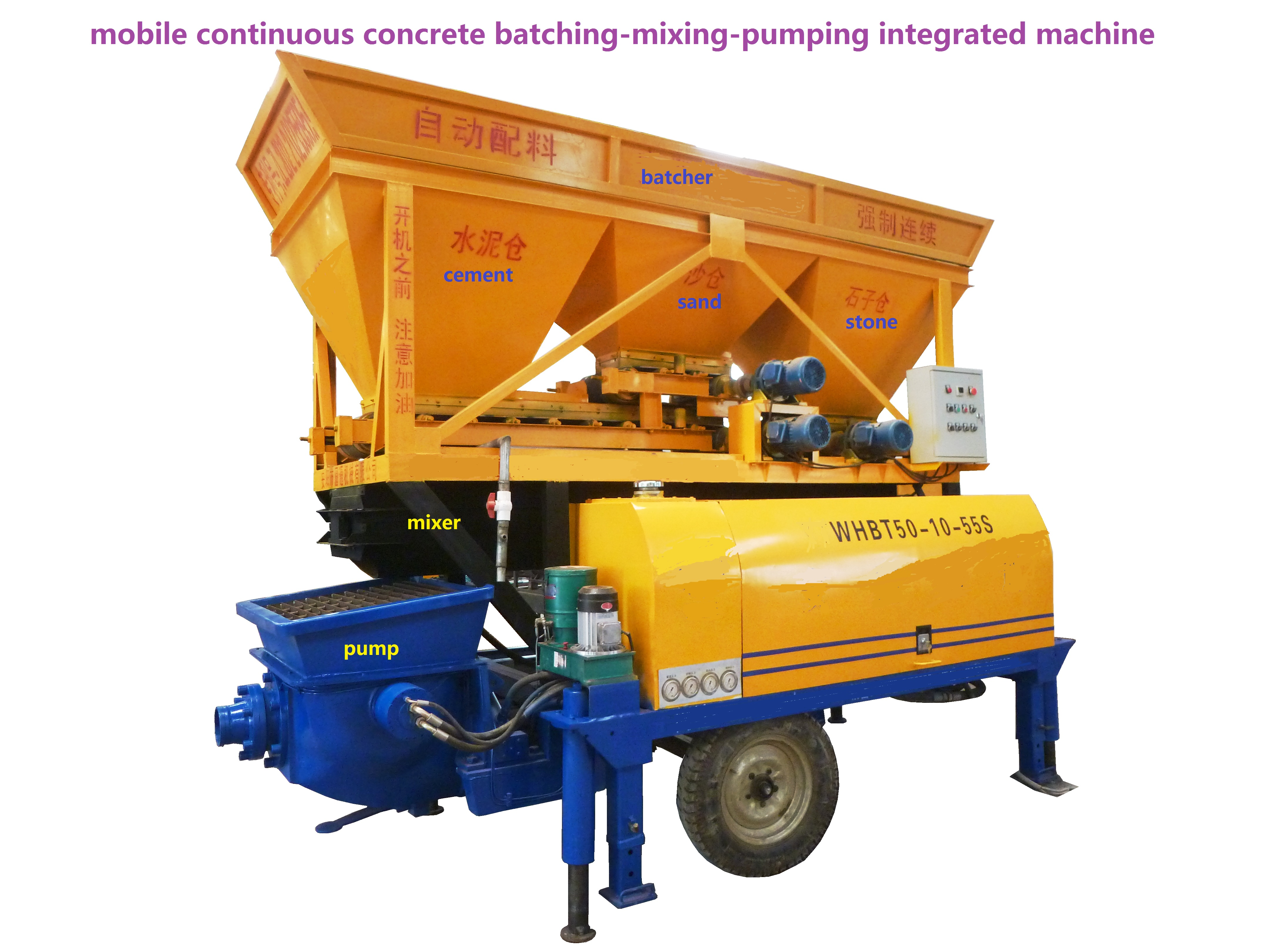 small mobile continus concrete mixing /pumping machine